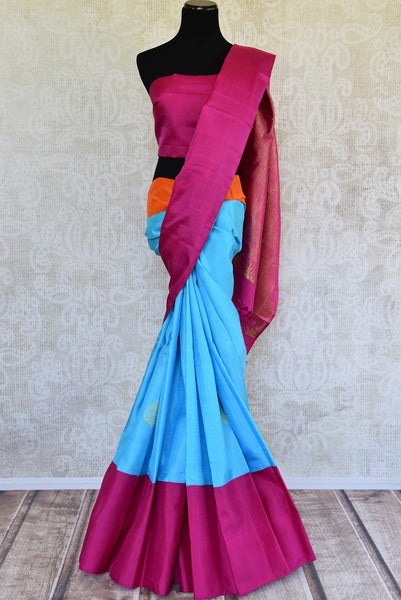 Buy sky blue Kanjivaram sari online or from Pure Elegance store in USA. We bring you beautiful range of fine zari work Indian Kanjivaram silk sarees online.-full view