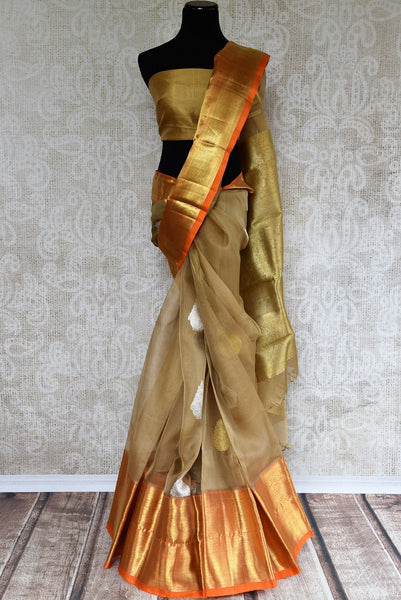 Elegant Organza Kanjivaram Saree online in USA. Buy from an ethnic collection of Kanjivaram silk sarees online from Pure Elegance store. For every Indian woman.-full view