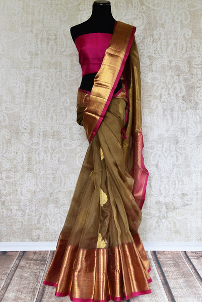 Shop Brown Organza Kanjivaram Saree online from Pure Elegance store. Browse through beautiful Indian Kanchipuram Silk Sarees online with finest weaving and designs.-full view