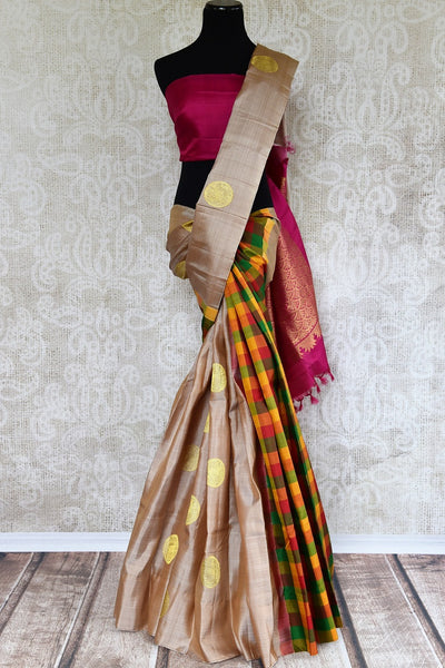 Buy Cream Kanjeevaram saree online in unique design from Pure Elegance store. Finest collection of pure woven Kanchipuram silk sarees online in USA for Indian women. -full view