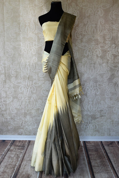 Looking for minimal Kanjivaram Saree? Buy stylish Off White and Grey Kanjeevaram silk saree online from Pure Elegance store. Indian Kanchipuram Sarees online in USA.-full view