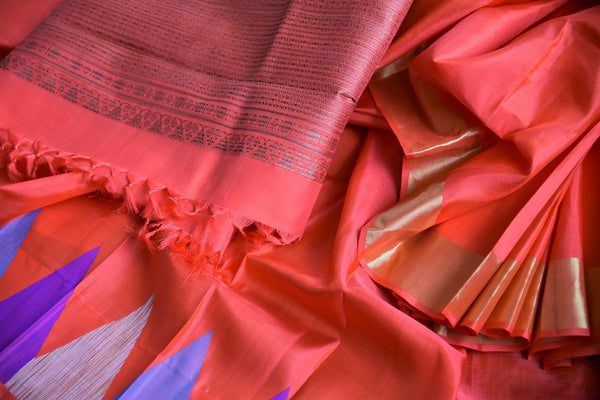 Buy Pink Kanchipuram silk sari online from Pure Elegance or visit our store in USA. Graceful Indian woven silk sarees with temple border buy online in rich colors. -details