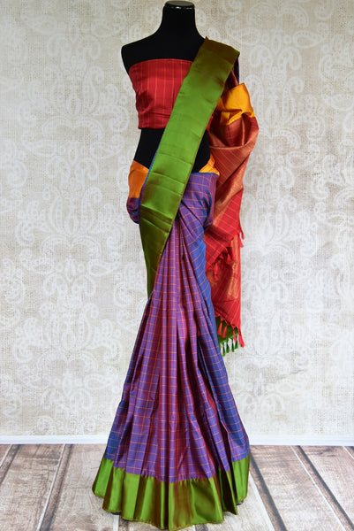 Buy exquisite Multicolor Kanjivaram silk saree online from Pure Elegance or visit our store in USA. Choose from rich and fine woven Indian silk sarees online for every occasion.-full view