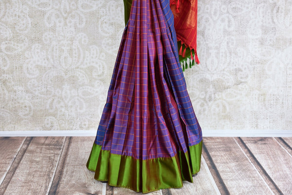 Buy exquisite Multicolor Kanjivaram silk saree online from Pure Elegance or visit our store in USA. Choose from rich and fine woven Indian silk sarees online for every occasion.-pleats
