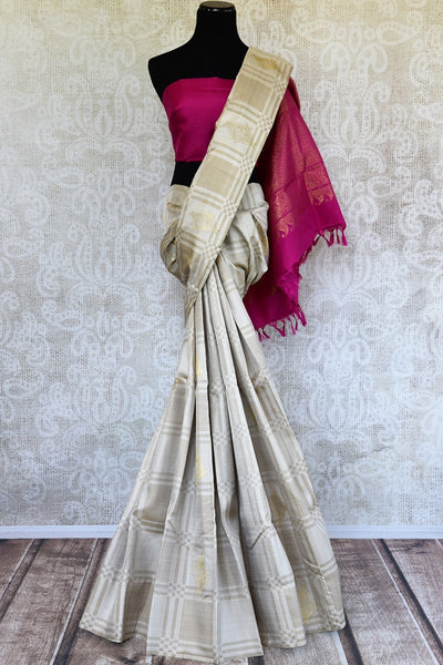 Pure Elegance brings you a fine range of Indian Kanjeevaram silk sarees online in USA with exquisite zari work. Buy off white Kanjivaram silk saree online in USA.-full view