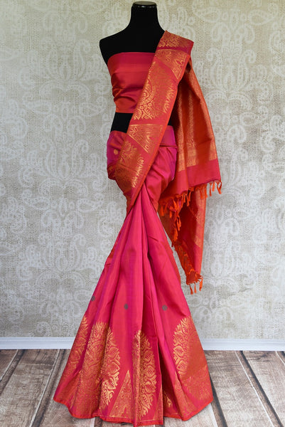 Regal Kanjivaram Silk Saree online in Red color with Zari Buta. Buy from Pure Elegance online store in USA. Rich collection of Indian Kanchipuram silk sarees USA.-full view