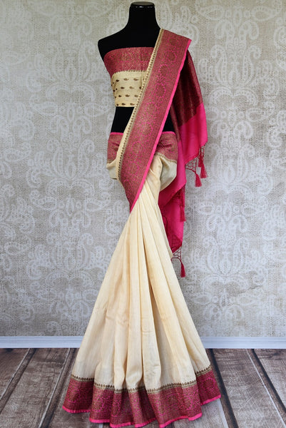 Graceful white Muga Silk Banarasi saree available at Pure Elegance online store. Browse through an exclusive range of woven Indian sarees for every occasion. - full view