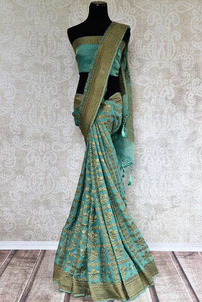 Buy exquisite Handwoven Blue Banarasi Tissue Georgette Saree online in USA. Indian Banarasi Sarees, Georgette Sarees in captivating designs shop now. Be occasion ready.-full view