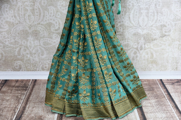 Buy exquisite Handwoven Blue Banarasi Tissue Georgette Saree online in USA. Indian Banarasi Sarees, Georgette Sarees in captivating designs shop now. Be occasion ready.-pleats