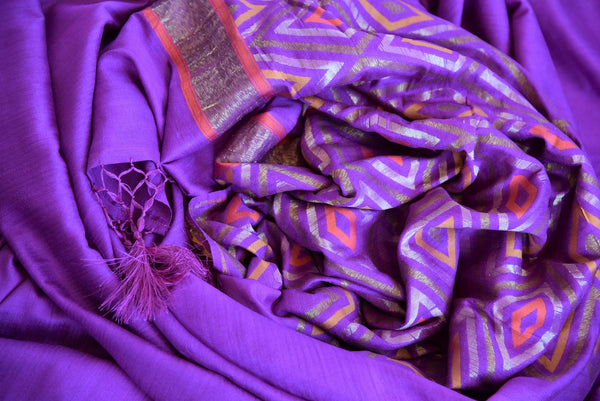 Buy this exquisite purple muga banarasi woven sari with a multi-colored, patterned pallu and a purple blouse piece. A splendid choice for Indian women for any occasion. - close up