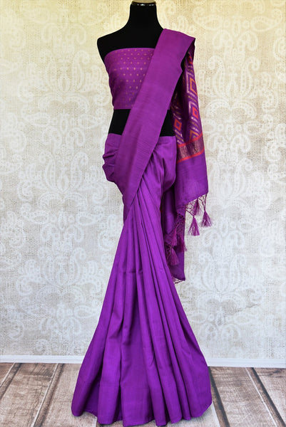Buy this exquisite purple muga banarasi woven sari with a multi-colored, patterned pallu and a purple blouse piece. A splendid choice for Indian women for any occasion. - full