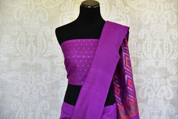 Buy this exquisite purple muga banarasi woven sari with a multi-colored, patterned pallu and a purple blouse piece. A splendid choice for Indian women for any occasion. - top