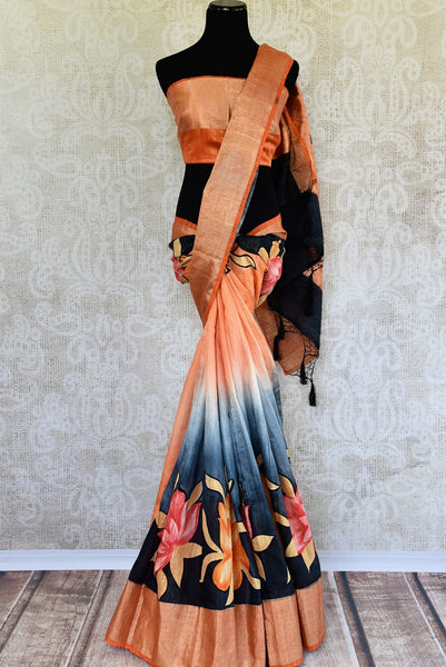 Buy Orange and Black Printed Matka Banarasi Saree online from Pure Elegance store. A collection of printed Indian sarees, Banarasi silk sarees online in USA.-full view
