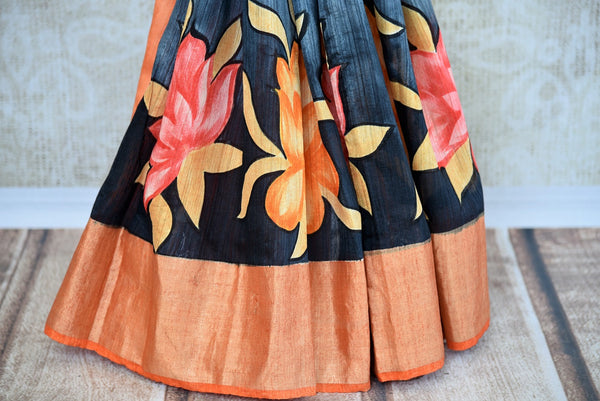 Buy Orange and Black Printed Matka Banarasi Saree online from Pure Elegance store. A collection of printed Indian sarees, Banarasi silk sarees online in USA.-pleats