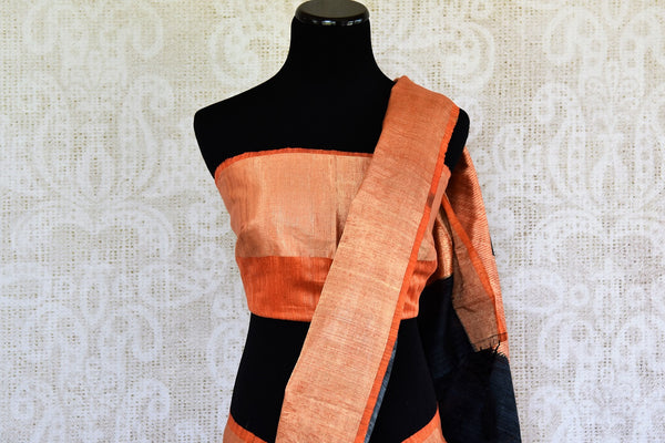 Buy Orange and Black Printed Matka Banarasi Saree online from Pure Elegance store. A collection of printed Indian sarees, Banarasi silk sarees online in USA.-pallu