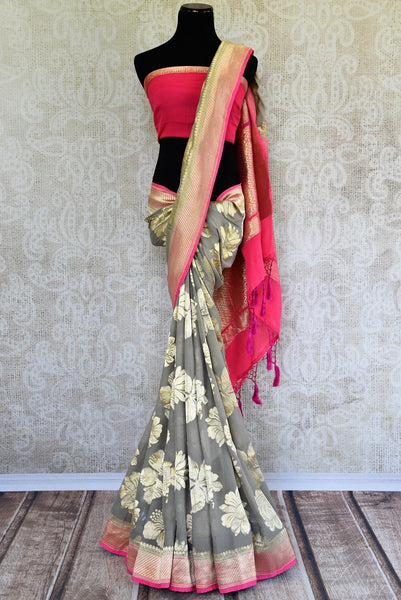 Buy Beautiful Grey Georgette Banarasi Sari online from Pure Elegance store. Attractive collection of Woven Banarasi Sarees online in USA. Perfect for Wedding. -full view