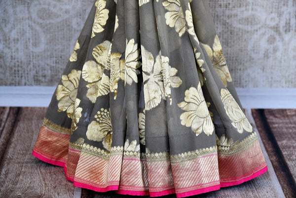 Buy Beautiful Grey Georgette Banarasi Sari online from Pure Elegance store. Attractive collection of Woven Banarasi Sarees online in USA. Perfect for Wedding. -pleats