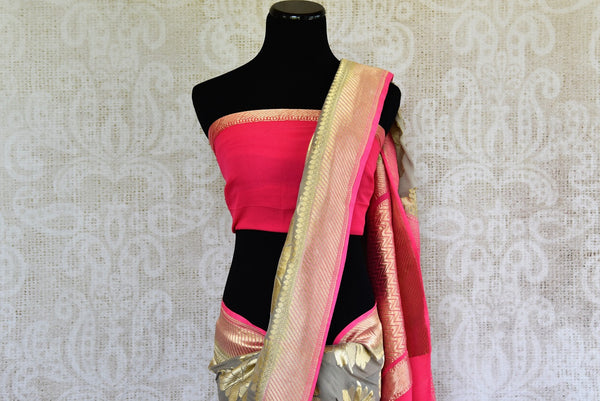 Buy Beautiful Grey Georgette Banarasi Sari online from Pure Elegance store. Attractive collection of Woven Banarasi Sarees online in USA. Perfect for Wedding. -pallu