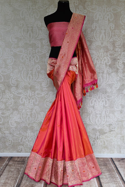 Buy orange pure Banarasi silk sari online from Pure Elegance or visit our store in USA. We bring you an exclusive range of bridal Banarasi sarees for Indian women. -full view