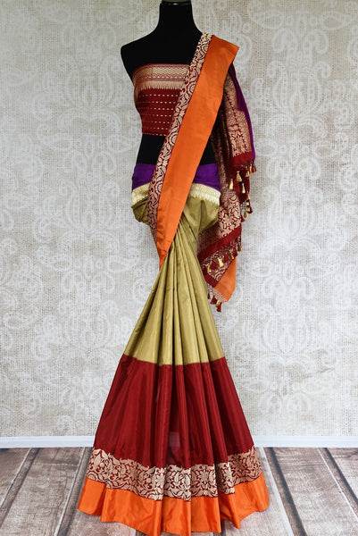 Buy Banarasi silk saree online in green and maroon color from Pure Elegance or visit our store in USA. Shop from exquisite range of Indian designer saris online.-full view
