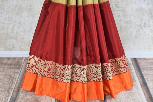 Buy Banarasi silk saree online in green and maroon color from Pure Elegance or visit our store in USA. Shop from exquisite range of Indian designer saris online.-pleats
