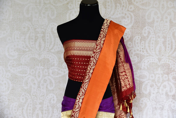 Buy Banarasi silk saree online in green and maroon color from Pure Elegance or visit our store in USA. Shop from exquisite range of Indian designer saris online.-pallu
