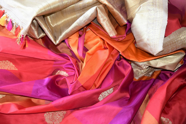 Buy Pure Woven Banarasi Silk Saree online in Multicolors and Gold Zari Border. Rich collection of Banarasi Sarees online at Pure Elegance for Indian women. Buy now.-details