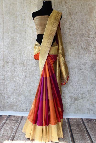 Buy Pure Woven Banarasi Silk Saree online in Multicolors and Gold Zari Border. Rich collection of Banarasi Sarees online at Pure Elegance for Indian women. Buy now.-full view