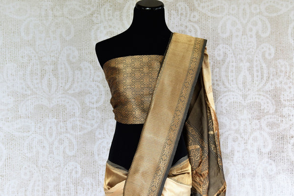 Buy beautiful offwhite Banarasi Silk Saree online with zari border from Pure Elegance store. Browse through Indian Banarasi Sarees online in exquisite designs.-pallu