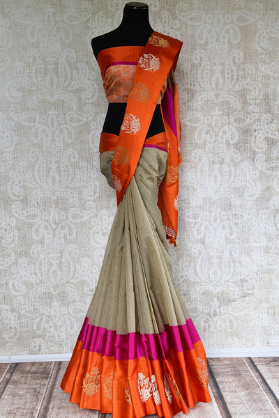 Stylish Cotton Banarasi Saree online in brown color with a satin border and zari buta. Choose from Pure Elegance Stylish Cotton Sarees, Banarasi sarees in USA. -full view