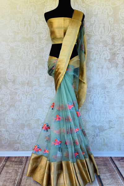 Buy elegant blue tissue Organza saree online in USA with embroidery from Pure Elegance. Our store has an exquisite range of woven Indian sarees online for women.-full view