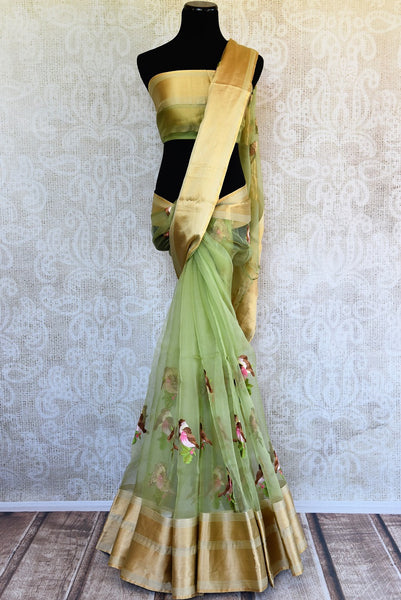 Buy Green Organza Saree online with embroidered bird motifs from Pure Elegance store. Browse through elegant Organza Sarees, Indian Sarees online in USA for every occasion.-full view