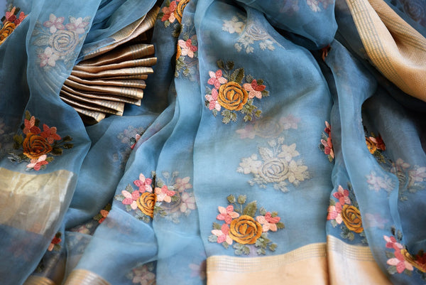 Buy Blue Organza Saree online with floral embroidery from Pure Elegance store. Exquisite collection of Organza Sarees, woven Indian Sarees online in USA for every occasion.-details