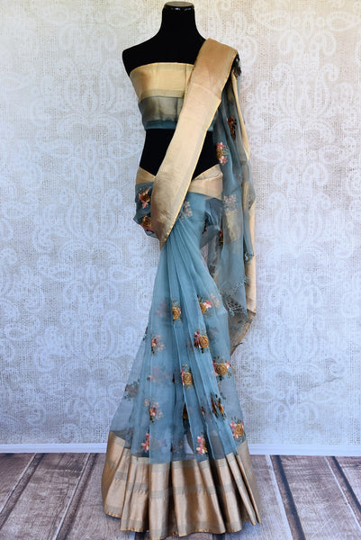 Buy Blue Organza Saree online with floral embroidery from Pure Elegance store. Exquisite collection of Organza Sarees, woven Indian Sarees online in USA for every occasion.-full view