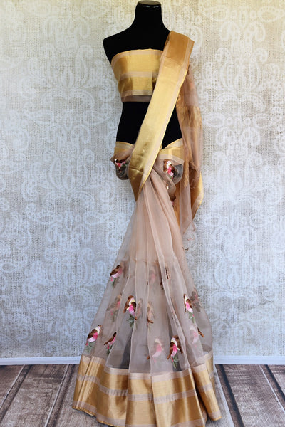 Buy Delicate Brown Beige Organza Saree online with bird motifs from Pure Elegance store. Exquisite collection of Organza Sarees online in USA for Indian women fashion.-full view