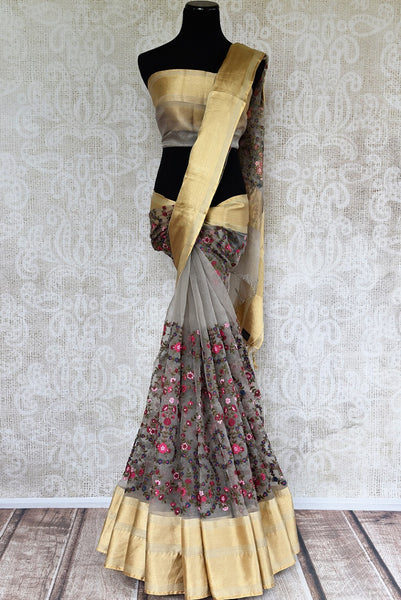 Buy Ethnic Grey Organza Saree online from Pure Elegance store. Browse through an alluring collection of Organza Sarees online for Indian women to choose your favorite.-full view