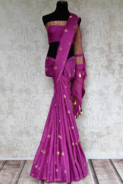 Pure Elegance presents beautiful woven Muga sarees online and in store for Indian women in USA. Buy elegant purple Muga Banarasi sari online for various occasions.-full view