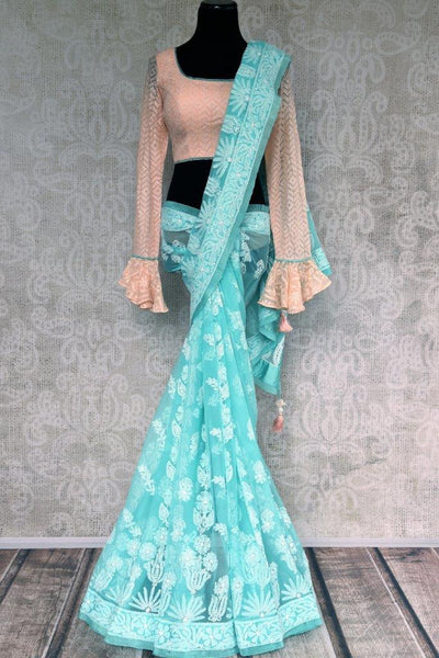 Buy blue embroidered Lucknowi Saree online in USA with readymade blouse. Pure Elegance store brings exclusive range of designer Lucknowi saris online for Indian women.-full view