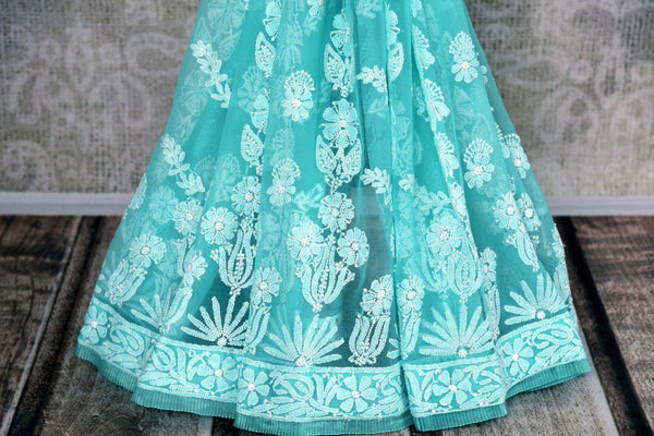 Buy blue embroidered Lucknowi Saree online in USA with readymade blouse. Pure Elegance store brings exclusive range of designer Lucknowi saris online for Indian women.-pleats