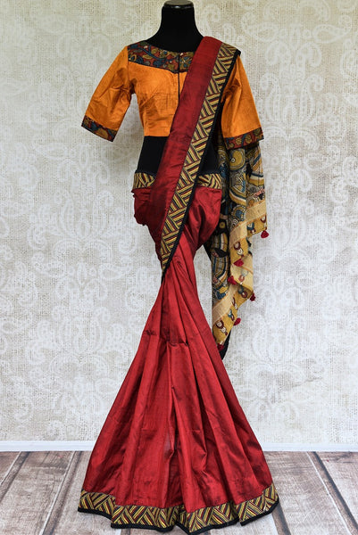 Buy red hand printed Kalamkari saree online with readymade blouse from Pure Elegance or visit our store in USA. Shop exclusive designer Indian sarees online in USA.-full view