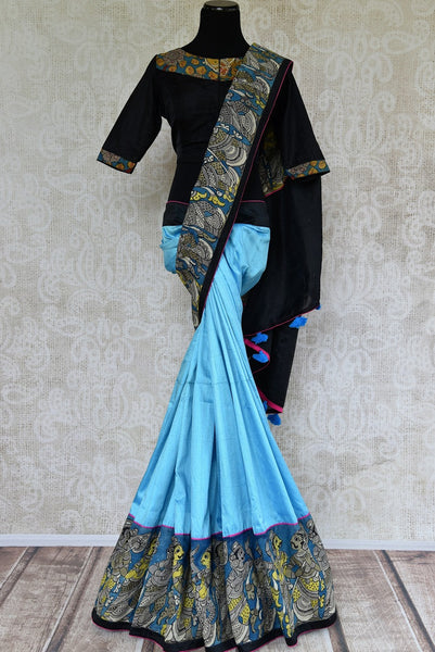 Buy blue hand printed raw silk Kalamkari saree online with a readymade blouse from Pure Elegance or visit our store in USA. Shop Indian Kalamkari saris online in USA.-full view