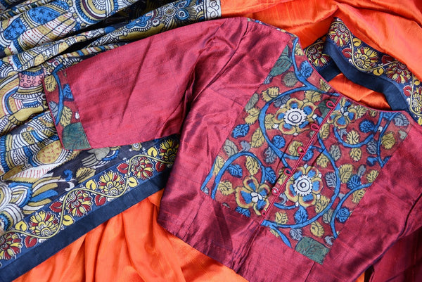 Buy orange hand printed raw silk Kalamkari sari online with a readymade blouse from Pure Elegance or visit our store in USA. Shop Indian Kalamkari sarees online in USA.-blouse details