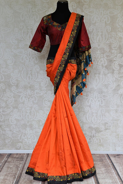 Buy orange hand printed raw silk Kalamkari sari online with a readymade blouse from Pure Elegance or visit our store in USA. Shop Indian Kalamkari sarees online in USA.-full view