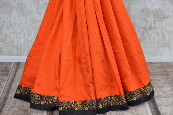 Buy orange hand printed raw silk Kalamkari sari online with a readymade blouse from Pure Elegance or visit our store in USA. Shop Indian Kalamkari sarees online in USA.-pleats
