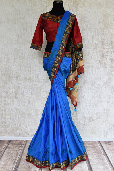 Buy blue hand printed Kalamkari saree online with readymade blouse from Pure Elegance or visit our store in USA. Shop exclusive Indian woven sarees online in USA.-full view
