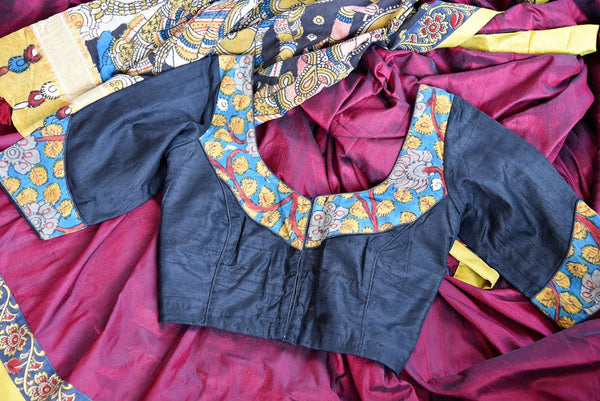 Buy maroon hand printed Kalamkari sari online with a readymade blouse from Pure Elegance or visit our store in USA. Shop pure woven Indian sarees online in USA.-blouse details