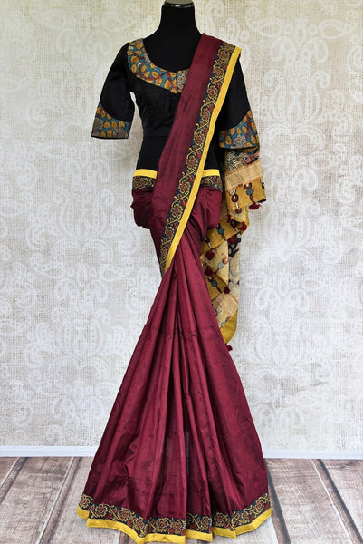 Buy maroon hand printed Kalamkari sari online with a readymade blouse from Pure Elegance or visit our store in USA. Shop pure woven Indian sarees online in USA.-full view