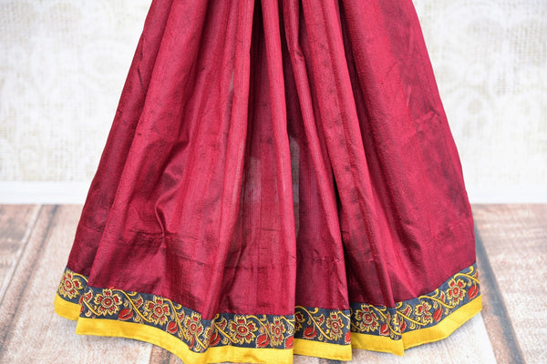 Buy maroon hand printed Kalamkari sari online with a readymade blouse from Pure Elegance or visit our store in USA. Shop pure woven Indian sarees online in USA.-pleats