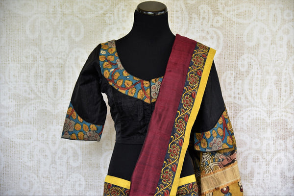 Buy maroon hand printed Kalamkari sari online with a readymade blouse from Pure Elegance or visit our store in USA. Shop pure woven Indian sarees online in USA.-pallu