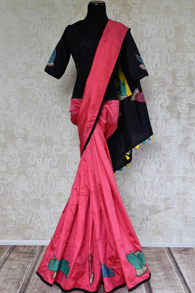 Buy pink hand printed raw silk Kalamkari sari online with a readymade blouse from Pure Elegance or visit our store in USA. Shop pure woven Indian sarees online in USA.-full view
